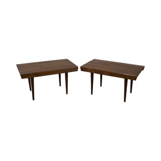 Mid-Century Modern Slat Tables / Benches - Pair