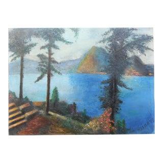 Vintage Italian Lake Scene Painting