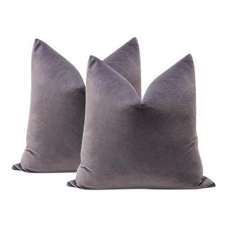 "22"" Smokey Amethyst Velvet Pillows - A Pair"