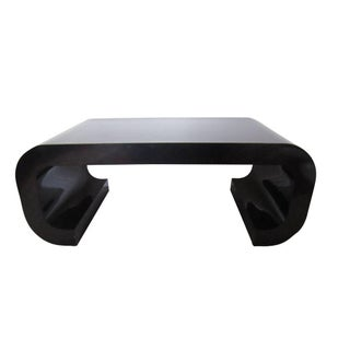 Karl Springer Style 70s Black Scroll Coffee Table