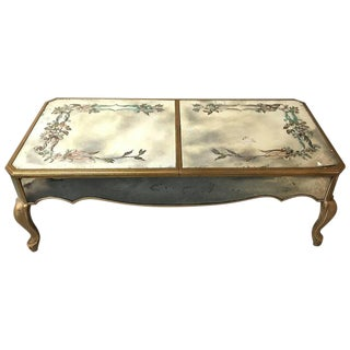 Hollywood Regency Italian Paint Decorated Sliding Mirror Top Coffee Low Table