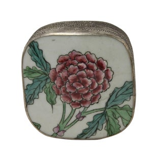 Chinese Floral Porcelain Nickel Trinket Box
