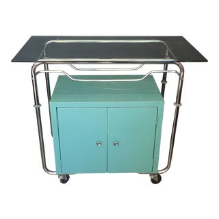 Turquoise Industrial Bar Cart