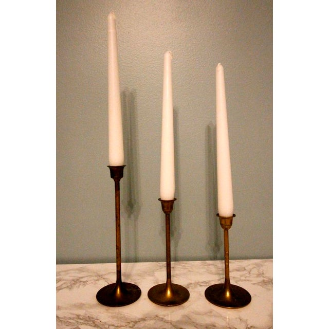 Vintage Tulip Graduated Brass Candlestick Holders - Set of 3 - Image 3 of 3