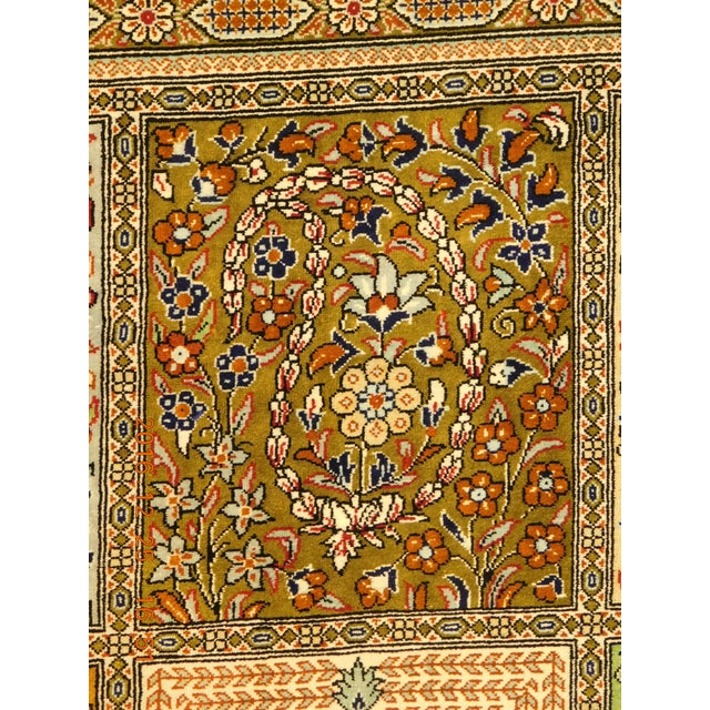 "Hand Knotted Pure Silk Persian Qom Rug - 4'10"" x 4'10"" - Image 3 of 9"