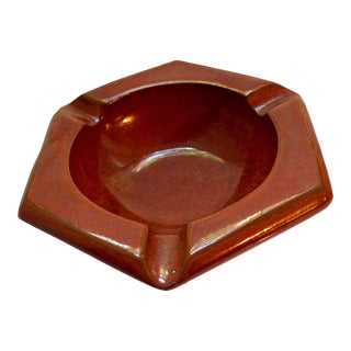 Mid-Century Mottled Burnt Orange Hexagon Ceramic Ashtray
