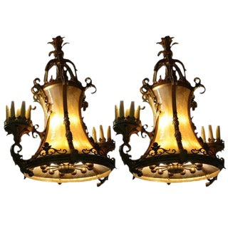 1920s Hollywood Theater Bronze & Slag Glass Chandeliers - A Pair