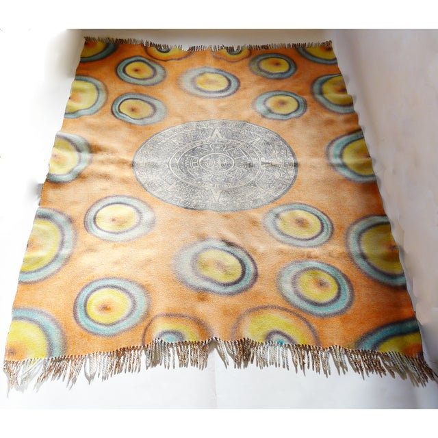 Image of Vintage Reversable Heavy 70s Groovy Picnic Blanket