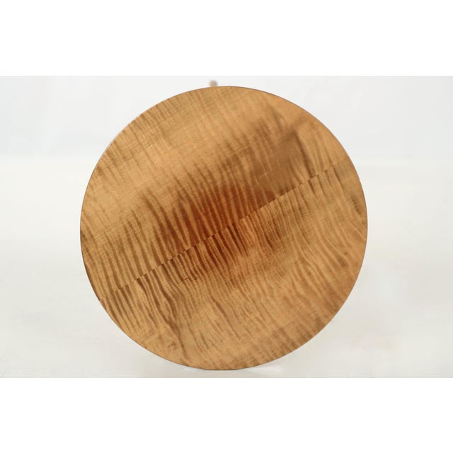 American Shaker Style Handmade Tiger Maple Candlestand Side Table - Image 7 of 11