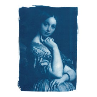 Limited Edition, Ingres Portrait of Young Woman Painting, Cyanotype on Watercolor Paper