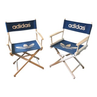 1980's Adidas Trefoil Logo Director's Chairs - A Pair