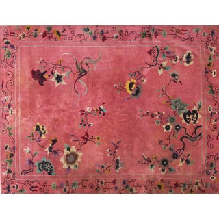 Chinese Art Deco Floral Rug - 8′10″ × 11′6″