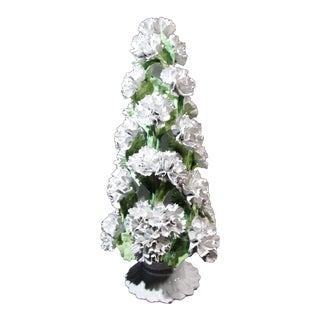 1970s Italian Ceramic Carnation Topiary Centerpiece
