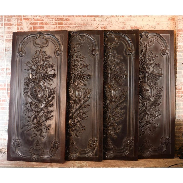 Antique Neoclassical Carved Doors - Set of 4 - Image 2 of 11