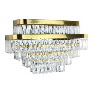 1980s Brass & Prism Sconce Tiered Chandelier Wall Sconce