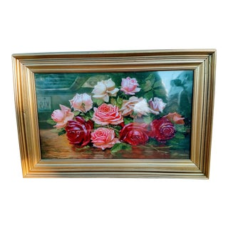 Antique Floral Oil Painting