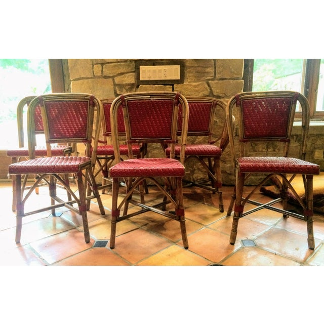 Vintage Woven French Bistro Chairs - Set of 6 - Image 5 of 11