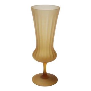 Vintage Italian Honey Amber Frosted Glass Vase