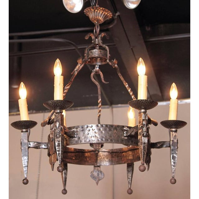 Early 20th Century French Wrought Iron Six-Light Chandelier - Image 2 of 10