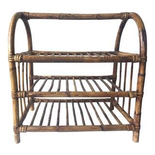 Vintage Scorched Bamboo Etagere/Magazine Rack