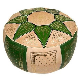 Fes Lime Green Leather Pouf