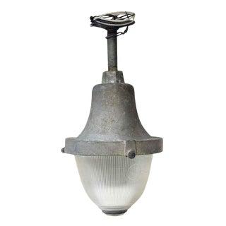 Vintage Industrial Holophane Prismatic Factory Pendant Light