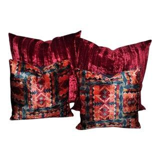 Amazing Red Silk Velvet and Multicolored Pattern Velvet Pillows