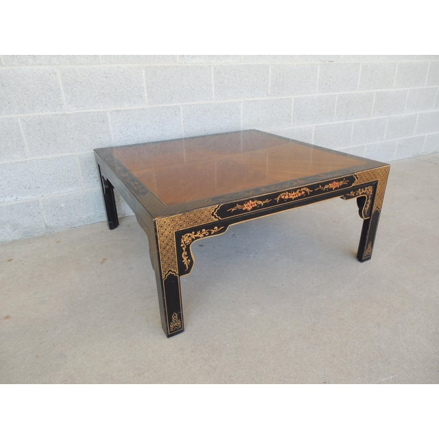 Henredon Black Lacquer Chinoiserie Coffee Table Chairish