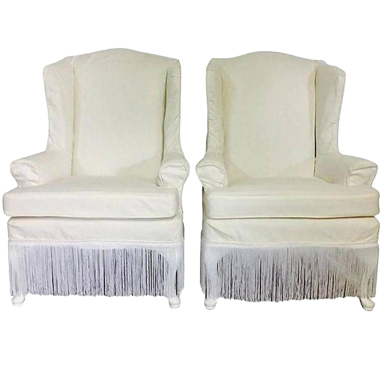 midcentury wingback slip covered high back chairs a pair