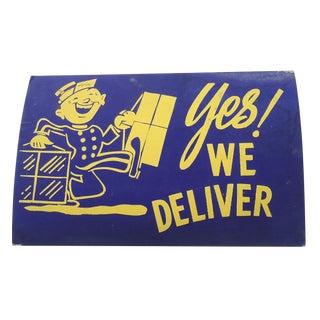 """Vintage 40s """"Delivery"""" Shop Sign"""