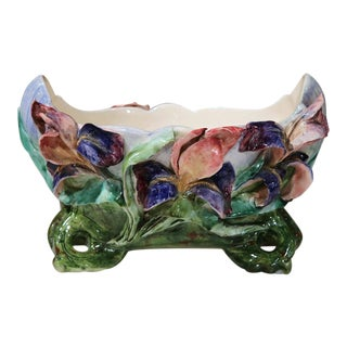 19th Century French Hand-Painted Signed Barbotine Floral Oval Cache Pot
