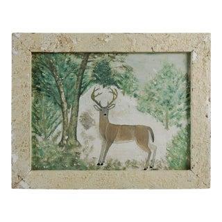Folk Art Deer C. 1920's & Hand Made Frame