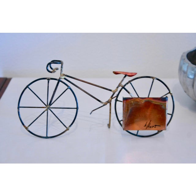 Brutalist Copper & Brass Bicycle Sculpture - Image 2 of 9