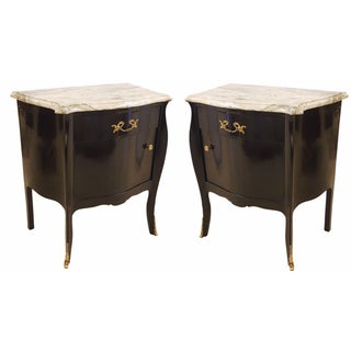 Ebonized Marble-Top Nightstands - A Pair