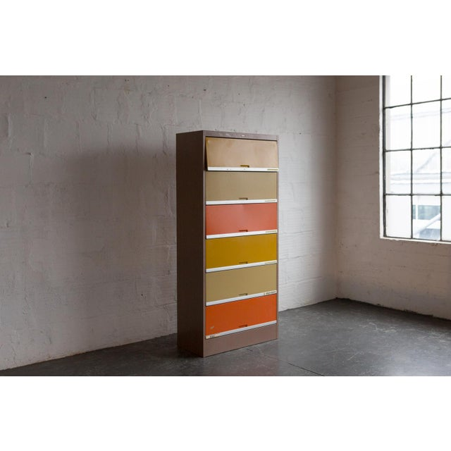 Vintage Orange & Yellow Steel Tab Office Cabinets - Image 3 of 7