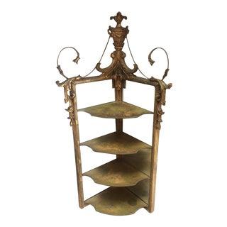 Adams Style Giltwood Corner Mirror Shelf