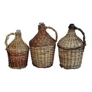 French Country Wicker Demijohn Wine Bottles - Set of 3