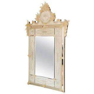 Ornate Etched Venetian Mirror with Bohemian Golden Flowers