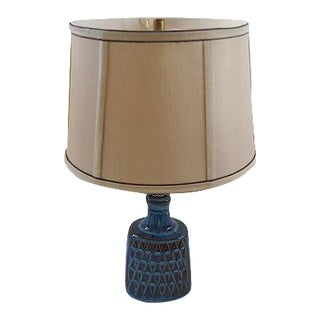 Mid-Century Danish Blue Stoneware Table Lamp