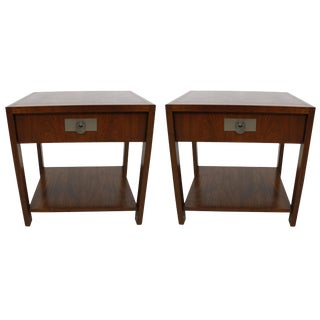 Michael Taylor for Baker Walnut Side Tables - A Pair