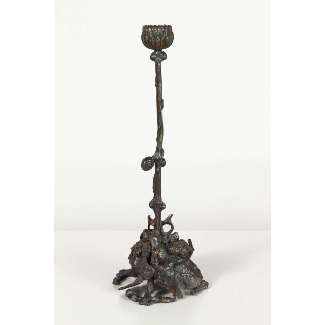 Pair of Art and Crafts Bronze Candlesticks - Image 9 of 9