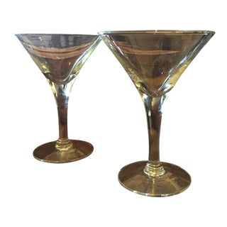 Mid-Century Modern Glass Martini Glasses - A Pair