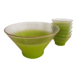 Mid-Century Green Salad Bowl & Serving Bowls - Set of 7