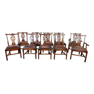 Carved Mahogany Chippendale Dining Chairs - Set of 10