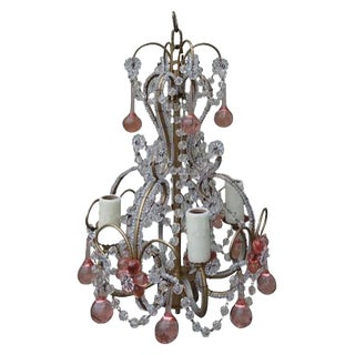 Petite Pink Crystal Drop Chandelier