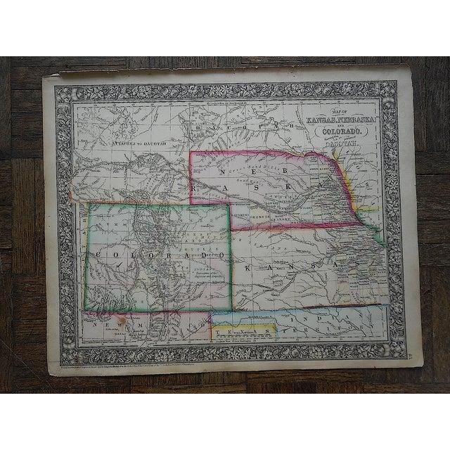 Image of Antique Kansas, Nebraska, Colorado & Dakotah Map
