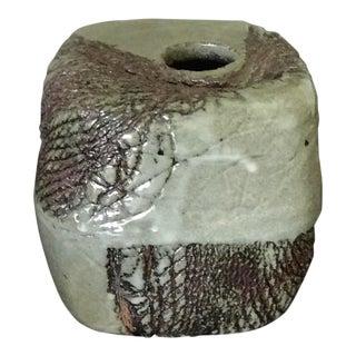 Mid-Century Studio Pottery Brutalist Style Square Vase