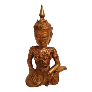 Carved Giltwood Asian Statue of a Musician