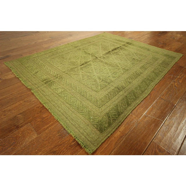 "Overdyed Green Handmade Rug - 4'10"" x 6' - Image 3 of 8"