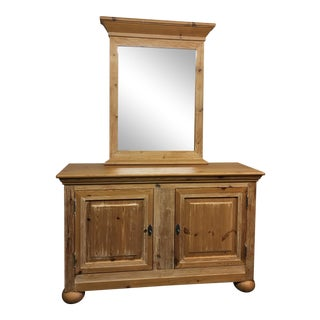 Spanish Pine Credenza Cabinet & Mirror